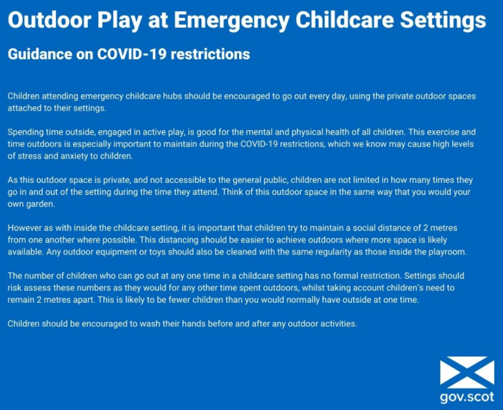 gov advice re outdoor play in settings